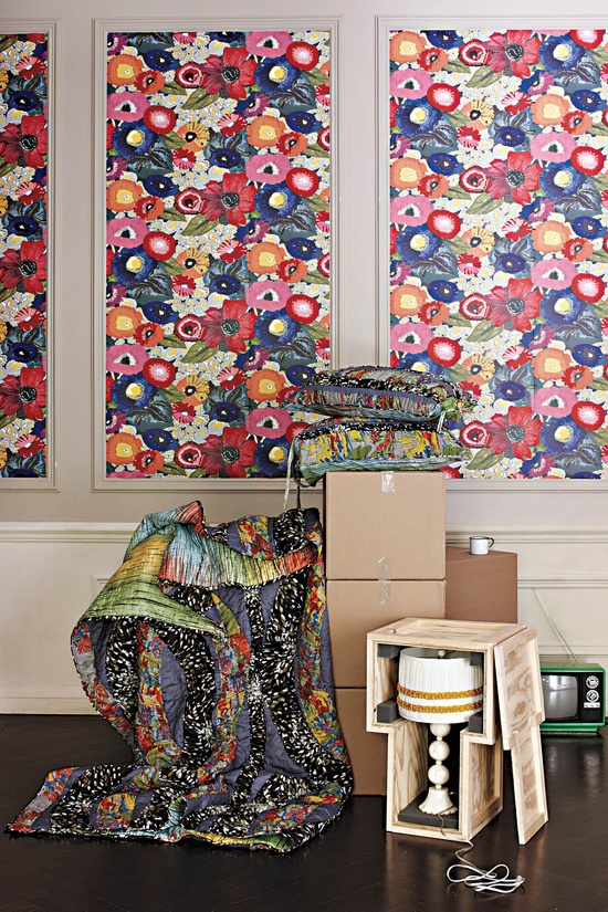 Anthropologie home decor - floral wallpaper