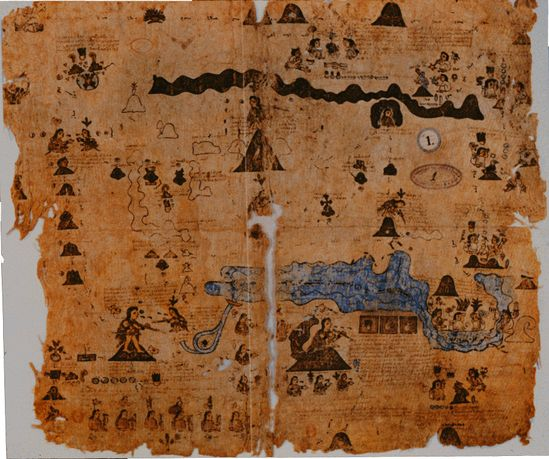 This is a map of the Basin of Mexico from Codex Xolotl -  circa 16th century