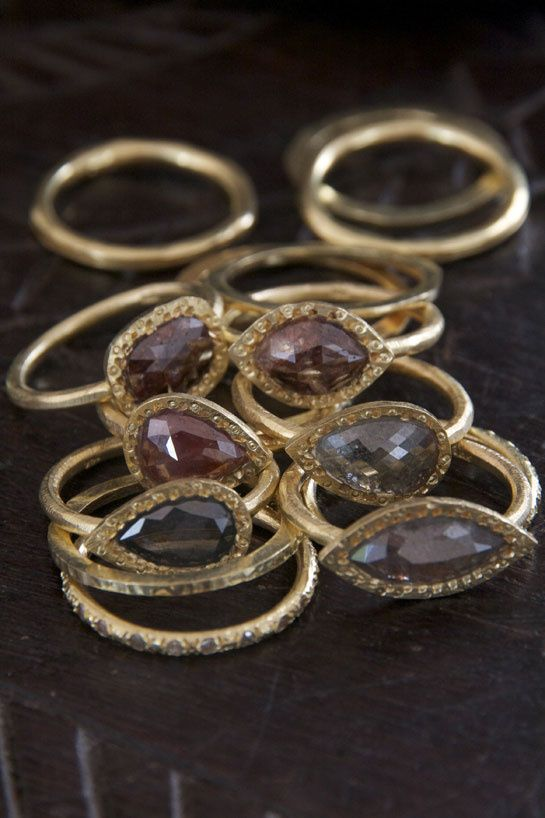 Gold and raw diamond rings