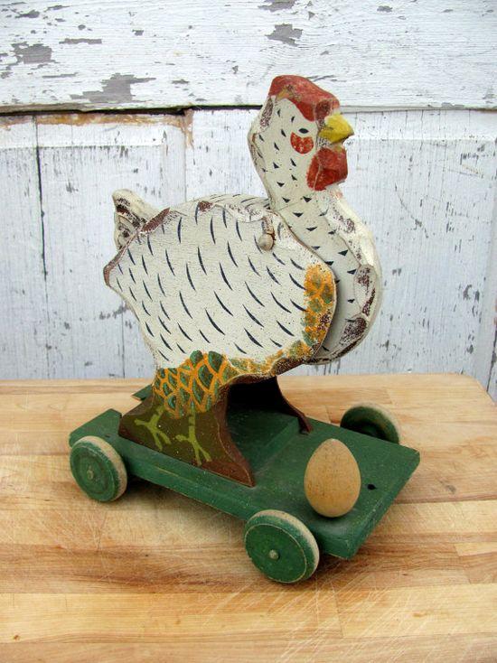 Antique Wooden Rolling Chicken Toy