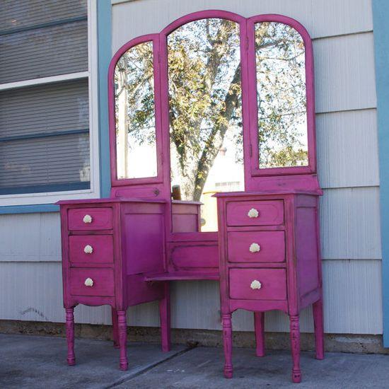 bright pink distressed vanity mirror