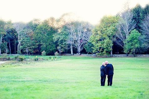 Surrounded by nature, Kevin and Pete share a romantic kiss in a breathtaking, tree-lined meadow. #bestkiss2012 #gay #wedding