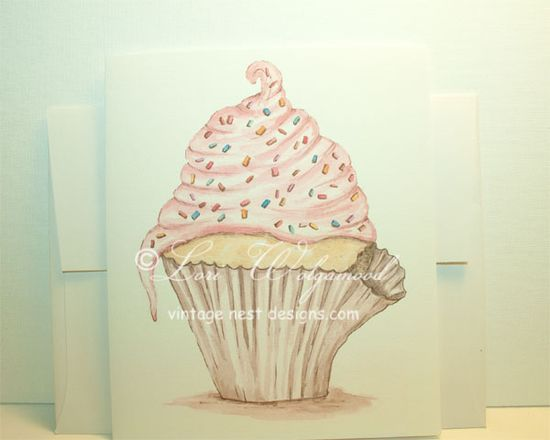Cupcake Stationary Cards with Envelopes - $12.00 : Vintage Nest Designs, Creative Handmade and Hand Painted Designs