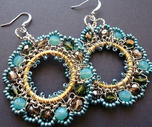 Aqua Earrings Hooped Intricate Beadwork Festive by BohemiaJewelry, $48.00
