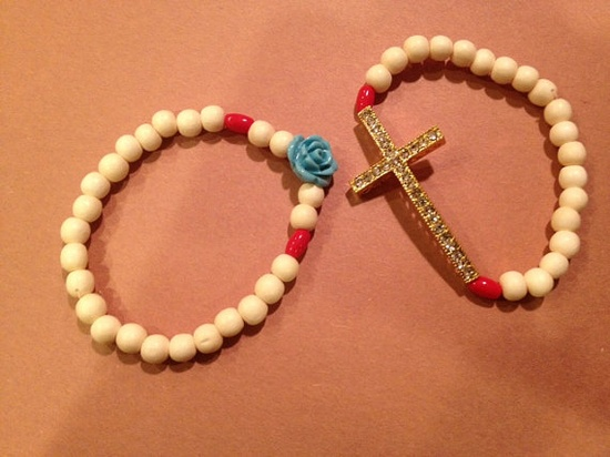 Gold Cross Bracelet with Cream Wooden Beads and by AroundMyWrist, $20.00