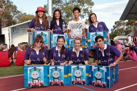 "relay in a train! -- Cute for the kids at relay. Make them cars and such to ""drive"" around"