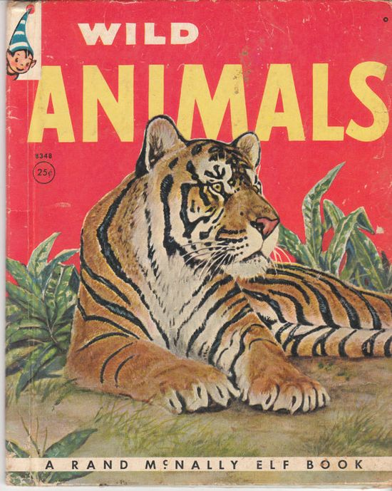 Wild Animals 1962 Vintage Elf Book Anna Ratzesberger J.L. Vlasaty Rand McNally by BirdhouseBooks on Etsy