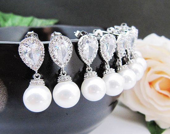 SET of 6 Bridesmaid Earrings