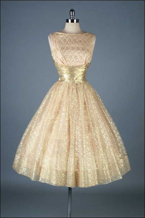 Vintage 1950s Dress - Gold Metallic Lace