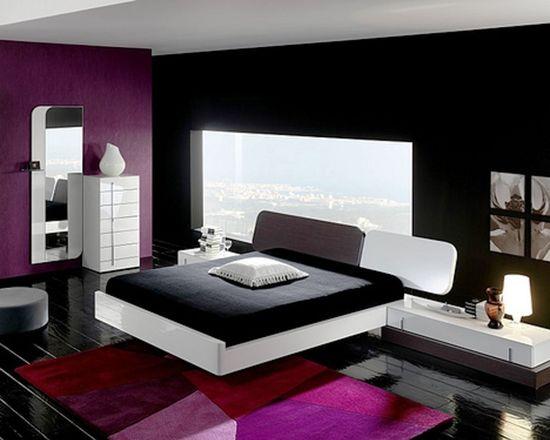 Black White and Purple Bedroom Decor Ideas