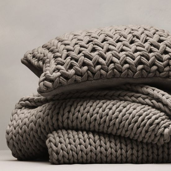 Chunky Hand Knit Throw & Cushion Cover - Smoke