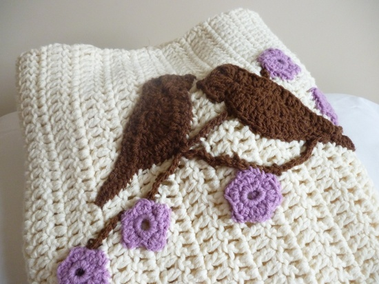 Crochet heirloom baby blanket - girls - birds and blossom. £35.00, via Etsy.
