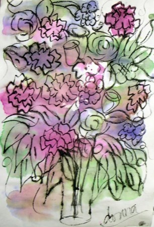 watercolor flowers, grade 5