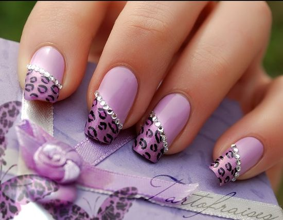 purple:)nails with leopard tips