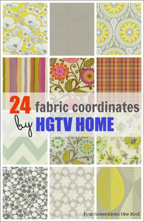 24 Gorgeous fabric coordinates {decorating your home} by HGTV Home. @Mandy Bryant Dewey Generations One Roof