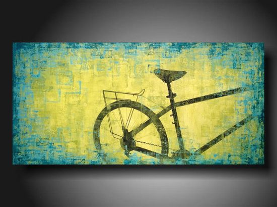 ORIGINAL Contemporary Fine Art Abstract  Painting modern 48 X 24 Inches  ---Turquoise and LIME ---- Move Ahead---Custom. $319.00, via Etsy.