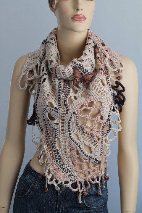 Sahara / Lace Freeform Crochet Cotton Scarf Shawl / by levintovich