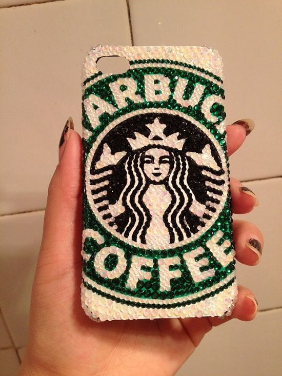 Starbucks Handmade iphone 5 case, iphone 4S case, iphone 4 case, rhinestone, pearl, crystal,bling,cute,birthday gift, iphone accessories on Etsy, $24.99