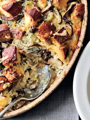 Mushroom and Leek Savory Bread Pudding. This savory side-dish casserole is made with challah bread. When filled with vegetables, cheese, and eggs, it's hearty enough to be served as a meatless meal.