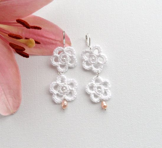 Crochet Earrings  White Flowers Earrings  by CraftsbySigita,