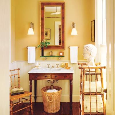 British Colonial-style powder room