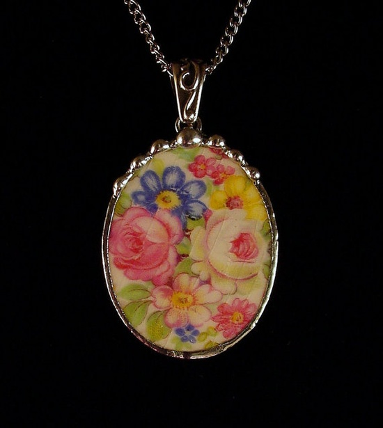 Parisian white and pink roses. Broken china jewelry oval pendant necklace. Made from a broken china plate by Dishfunctional Designs