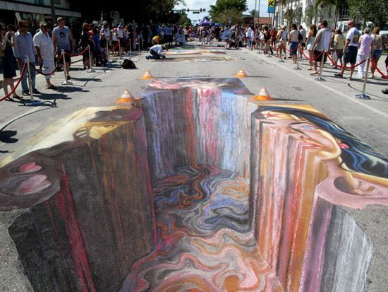 3D Street Art is created by painting, chalking or drawing a horizontal surface from one perspective. When the completed picture is viewed through a camera from the same position and perspective the picture appears to look three dimensional.