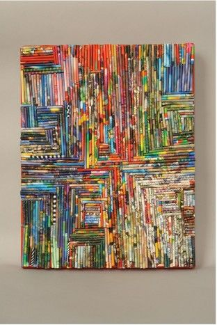 tightly rolled-up magazine pages glued onto canvas