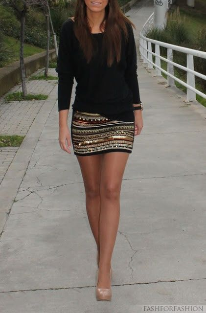 Plain black top   Patterned skirt   Nude shoes