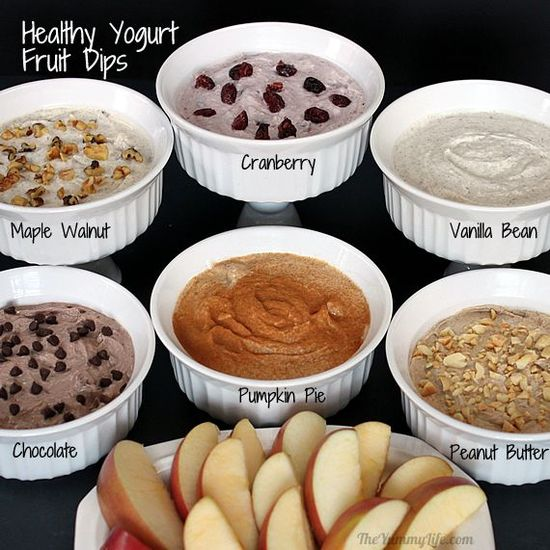 Healthy yoghurt fruit dips