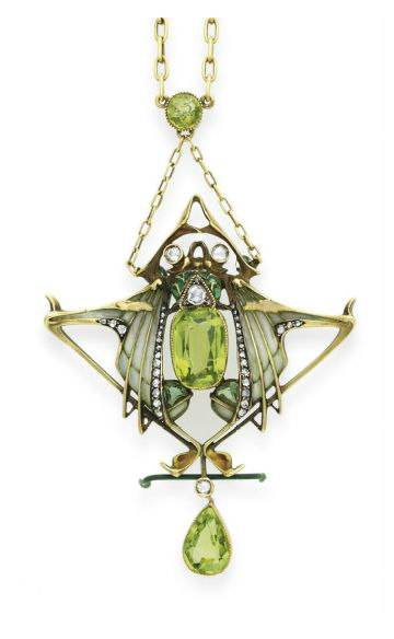 AN ART NOUVEAU PERIDOT, DIAMOND AND ENAMEL PENDANT NECKLACE, BY LUCIEN GAUTRAIT  The gold link chain with a peridot accent, suspending a cushion-cut peridot, rose-cut diamond and pale green plique-à-jour enamel insect, with rose-cut diamond eyes, extending pale green plique-à-jour enamel, rose-cut diamond and peridot wings, with a pear-shaped peridot and diamond drop, mounted in 18k gold, circa 1900, 20 ins., with French assay mark  Signed L. Gautrait for Lucien Gautrait