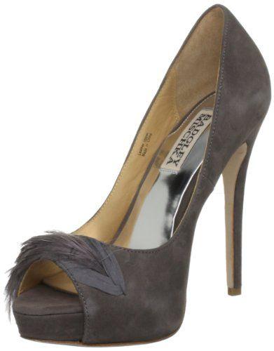 Badgley Mischka Women`s Ginnie Peep-Toe Pump, Grey Leather