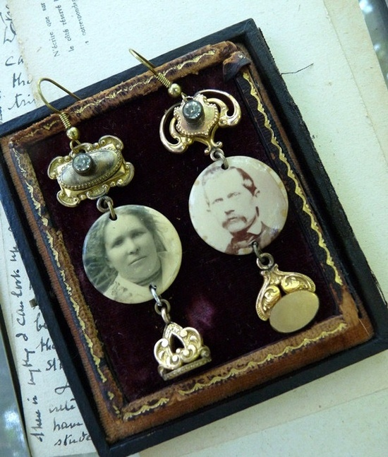 Vintage Assemblage Victorian Photo Earrings, by RusticGypsyCreations. $110.00, via Etsy.
