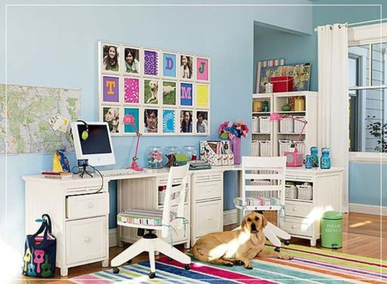 Traditional But Colorful Home Office at Bright and Colorful Home Office Design Ideas