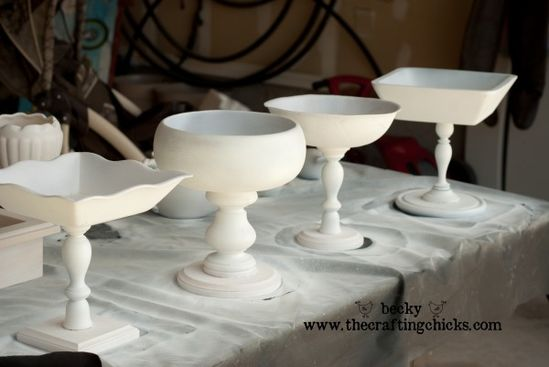 Bowls on candlesticks.... Easy and cute for display! Look at the blog post for the colors she finished them off with!