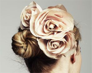 Love these flowers, they almost match her hair color. Great idea for brides with super short hair, who also would like a little more for their wedding day. Jennifer Behr Wedding Hair Accesories