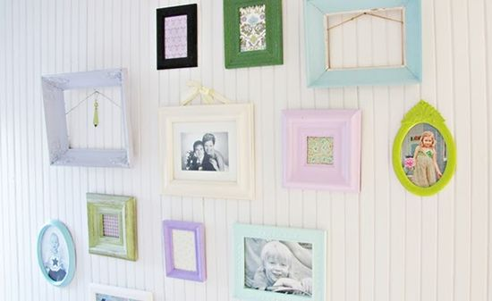 hand painted photo frames in pastel colours!