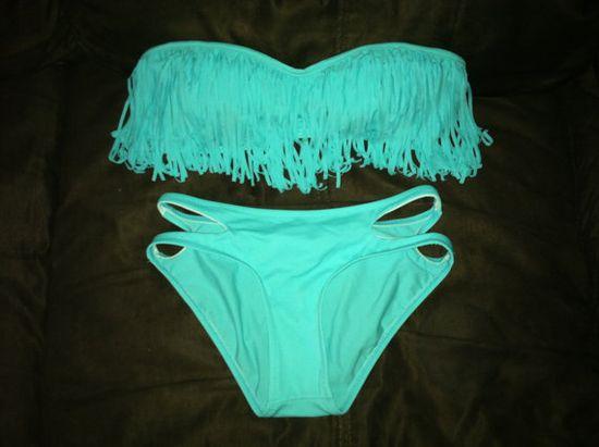 Tiffany Blue Fringe Bikini Bandeau
