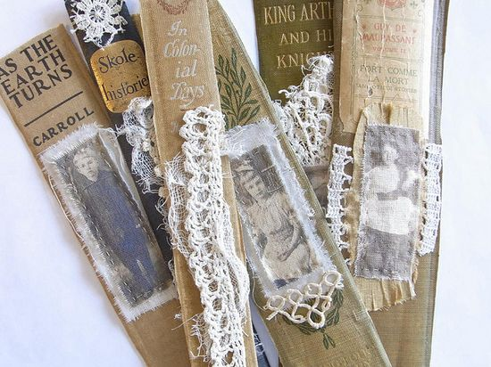 spines of books for bookmarks!  SK: grab from discards at the book room!