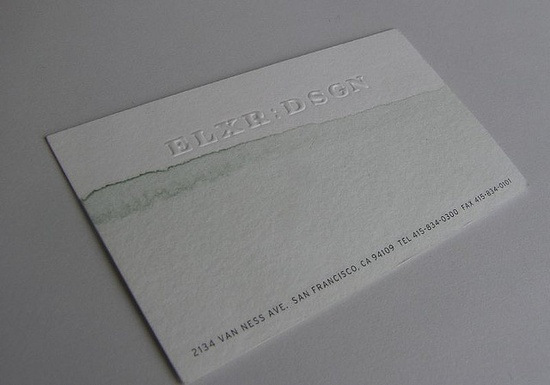 adding unique details to a business card: each one of the business cards for Elixr is printed on rag paper and then dipped in watercolor