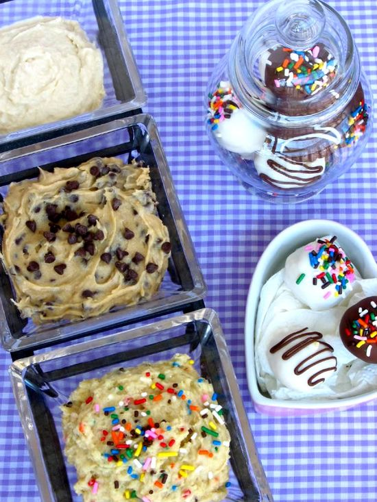 Must try!  Cookie dough made to eat raw! Chocolate chip cookie dough, sugar cookie dough, and CAKE BATTER cookie dough!