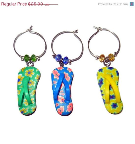 ON SALE Flip Flop Wine Charms Set of 5 by CloudNineDesignz on Etsy, $20.00