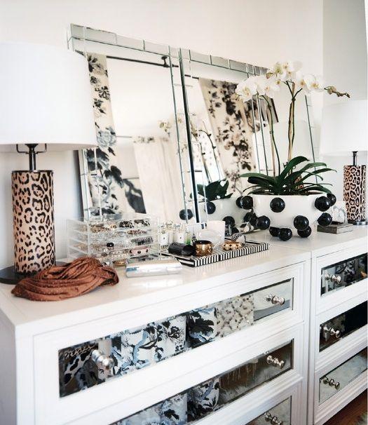 white + mirrored drawers