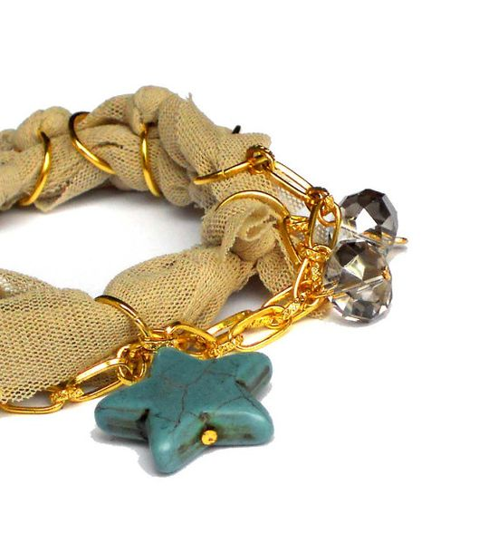 #Fabric #bracelet   bangle with #chain #beads and rings by lillicose, $21.73 #woman #gift
