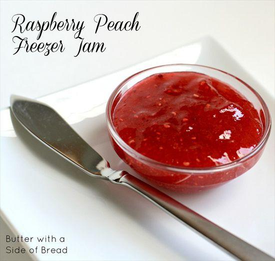 Raspberry peach freezer jam
