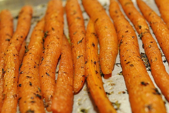 Roasted carrots. One of my fav side dishes - easy and inexpensive!  Carrots, olive oil, salt, and thyme. Rinse carrots, coat with oo and sprinkle with fresh thyme and salt. Bake at 400 for around 40 minutes. Delish!