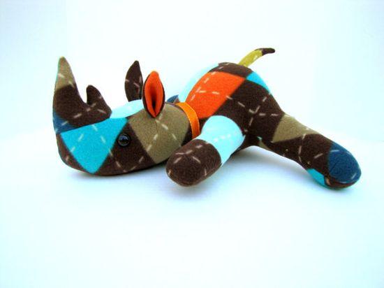 Handmade Stuffed Animal Rhino