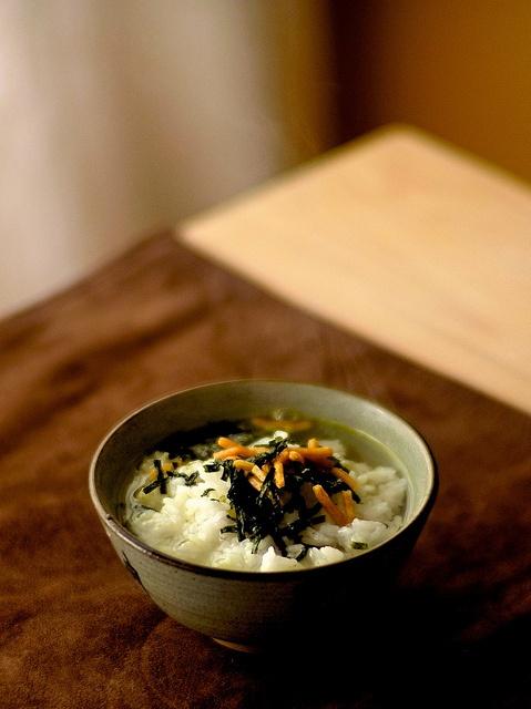Ochazuke: Rice with hot green tea or hot soup stock.