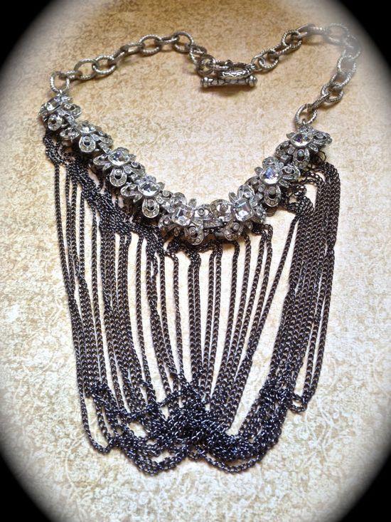 Beautiful vintage bib necklace by JNPVintageJewelry on Etsy, $120.00
