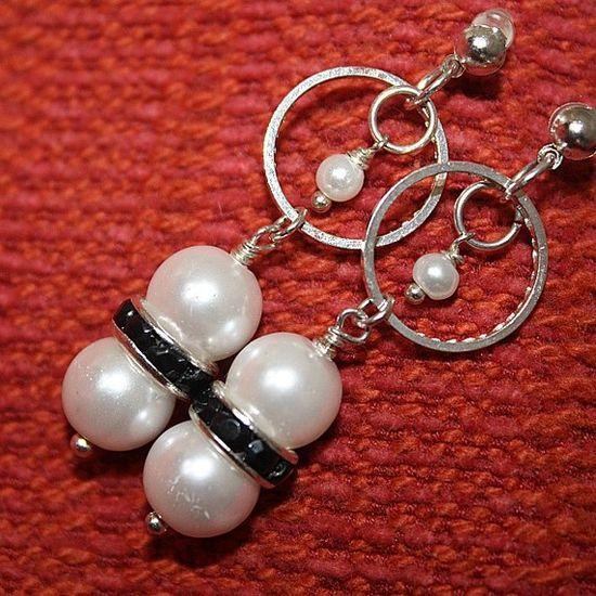 Pearl Earrings Silver Jewelry Wedding Jewellery June by cdjali, $10.00
